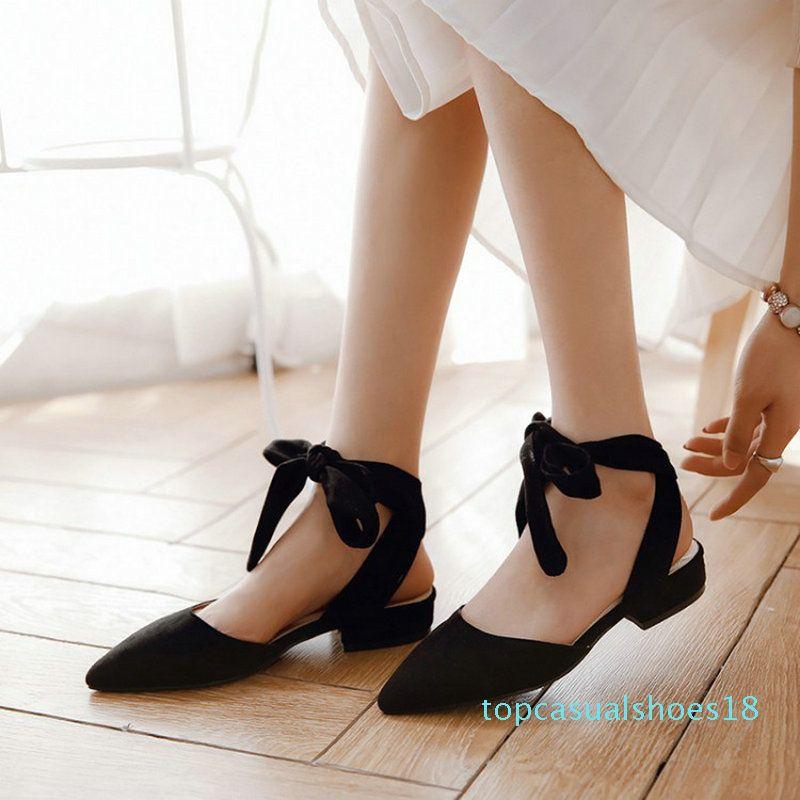 Sianie Tianie 2020 лето открытая спина крест-накрест повязка ремешок на щиколотке Балетки Женская обувь острый носок Женские сандалии размер 33-48