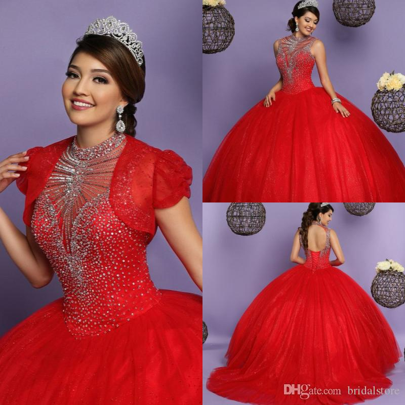 ball gowns red quinceanera dresses with jacket high neck beaded top puffy full length open back prom evening dress lace up gown 2018
