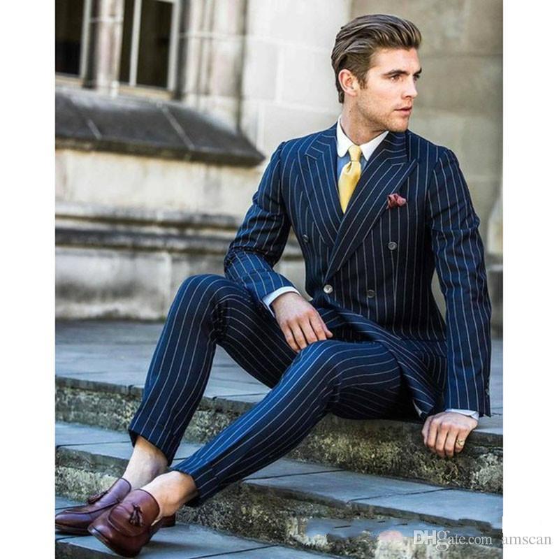 Мужской костюм 2 шт. Двубортный костюм темно-полосатый смокинг свадебные костюмы для мужчин Slim Fit смокинги (куртка + брюки) CY011