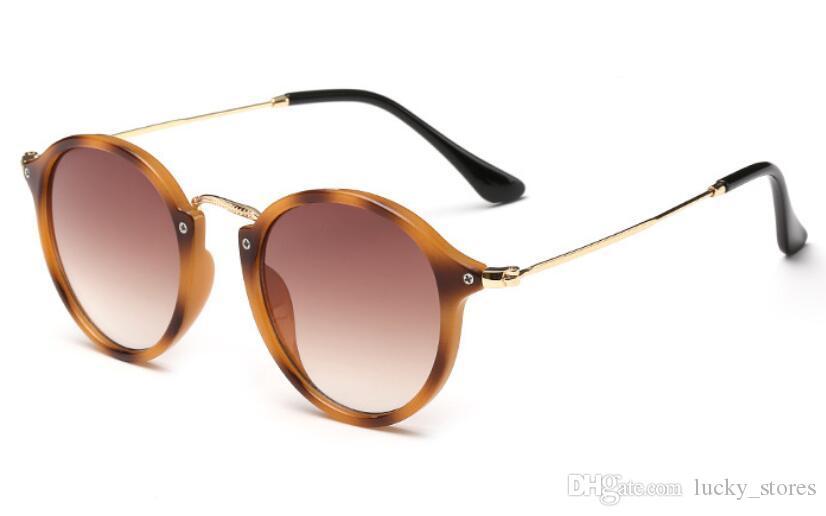 Vintage rodada óculos de sol mulheres designer clássico clássico sol vidros de sol para senhoras 2447 UV400 com casos