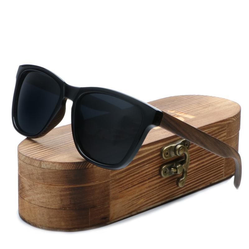 Venda Por Atacado óculos de sol dos homens das mulheres óculos de sol de bambu de madeira 100% uv400 proteger os homens quadrados shades lente espelhada no caso de madeira