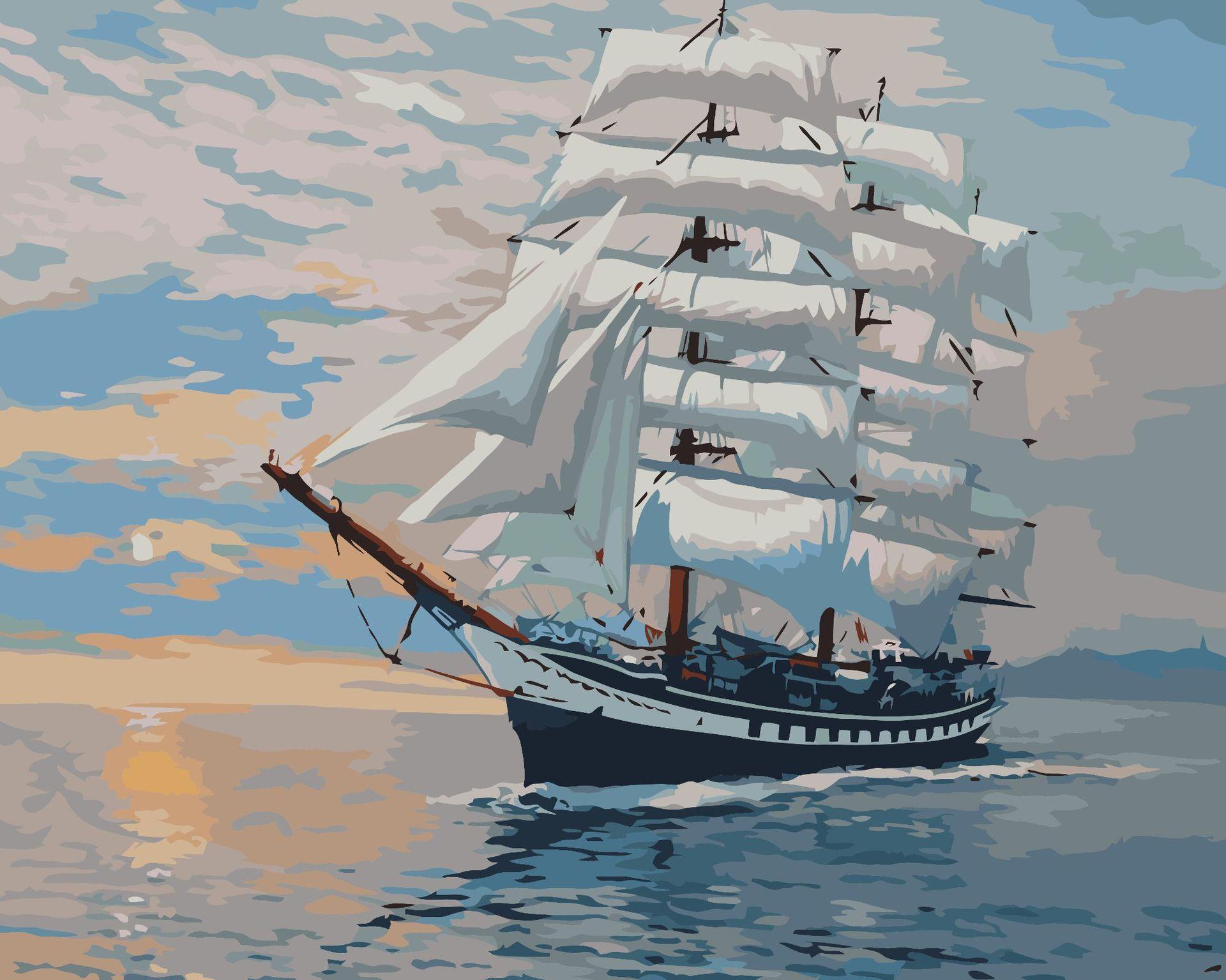 pintura a óleo atacado New DIY Digital veleiro vela suave 40 * 50 sem moldura coloração sala de estar quarto decoração pintura pintados à mão