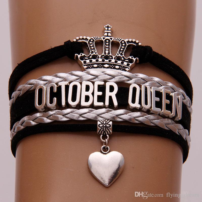 Sonsuz Aşk Ekim Kraliçe Bilezikler Wrap Halat Siyah Gümüş Örgü 12 Ay Kraliçe Bilezik Bilezik Taç Kalp Charm Takı