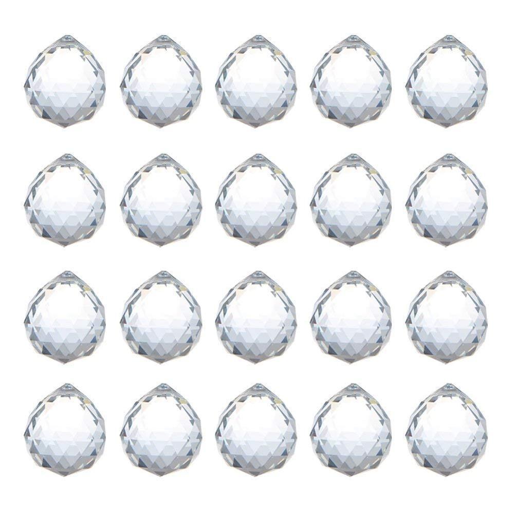 H&d 20pcs/lot 20mm Clear Crystal Ball Prism Feng Shui Lamp Hanging Drop Chandelier Pendants Clear Suncatchers Wedding Home Decor J190713