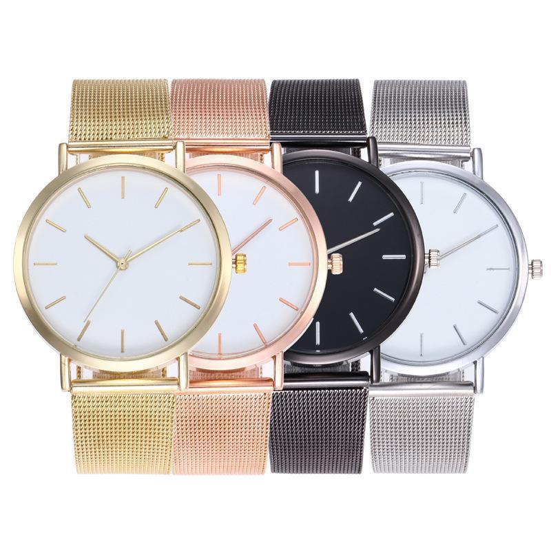 Unisex Frauen Herren Einfache Design Legierung Mesh Gürtel Quarzuhr Großhandel Mode Casual Students Armbanduhr Uhr