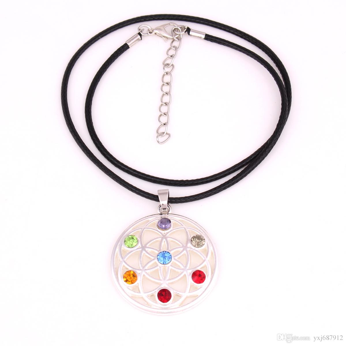 HX8 necklace Chain/link chain/leather rope chain necklace Buddhist necklacewith flower of life seven chakra crystals symbol pendant