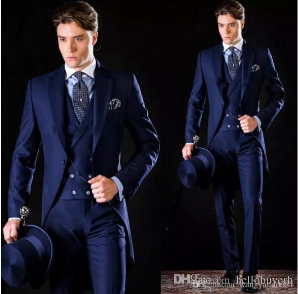 Yüksek Kalite Custom made Yakışıklı Damat Tailcoat Resmi Takım Elbise slim fit İş Üç parça Sağdıç suits Giyer (Ceket + Pantolon + yelek)