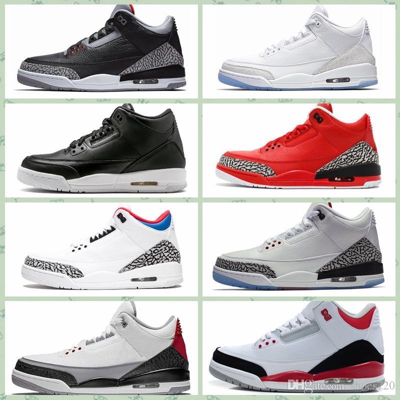 Nike Air Jordan Original AJ AJ3 Chaussures de basketball femme 3s rétro j3 Noir Ciment blanc OG Quai 54 garçons filles jeunes enfants aj3s Jumpman III baskets tennis 40-46