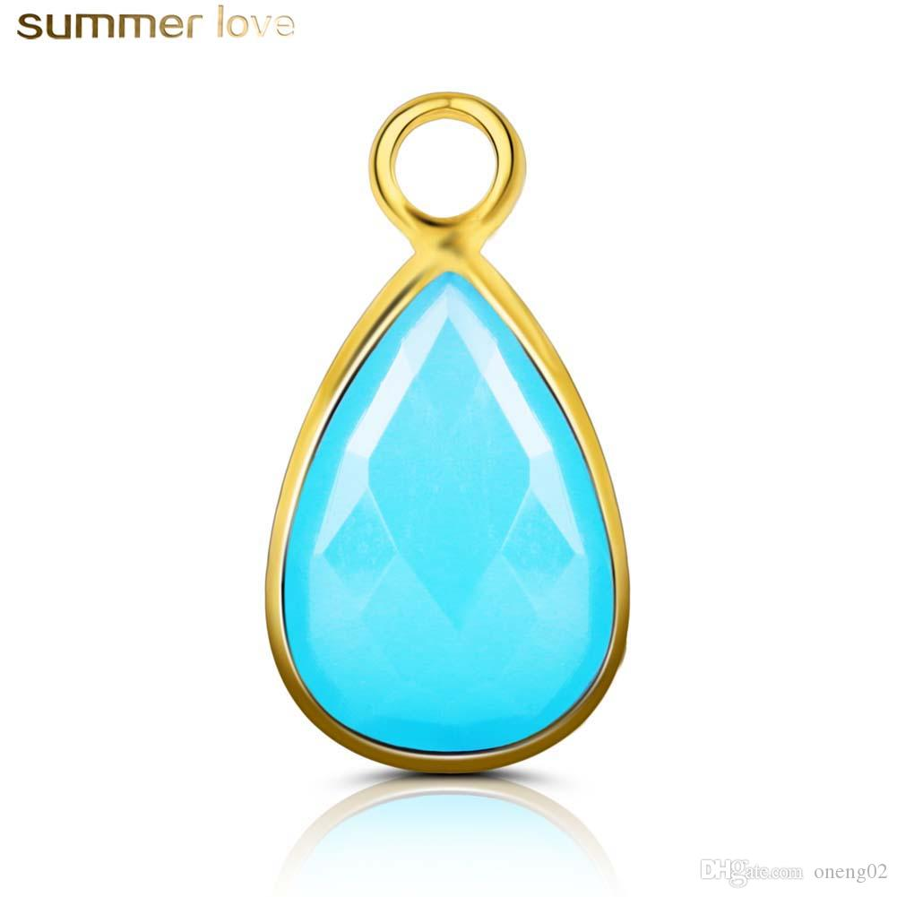Wholesale Fashion Water Drop Charms Green Glass Birthstone Pendants for Necklace Bracelets DIY Jewelry Accessories For Women