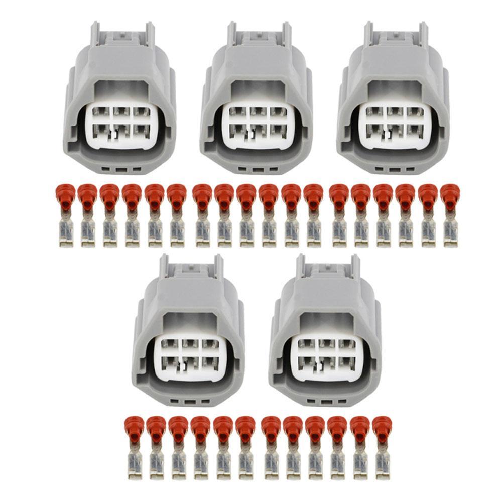 5 conjuntos de 6 pino de estrangulamento ficha de conector de carro obturadores de válvula arnês bujão FCI com DJZ7065-2.8-21 do terminal
