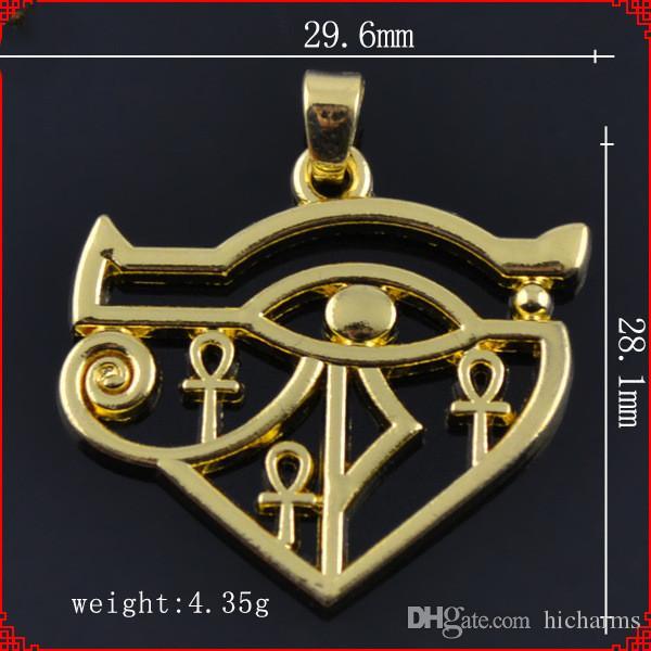 20 pezzi Moda metallo color oro Stile indiano Occhio d'oro di Horus Cobra pendenti per ciondoli per orecchini a bracciale collana creazione di gioielli fai da te