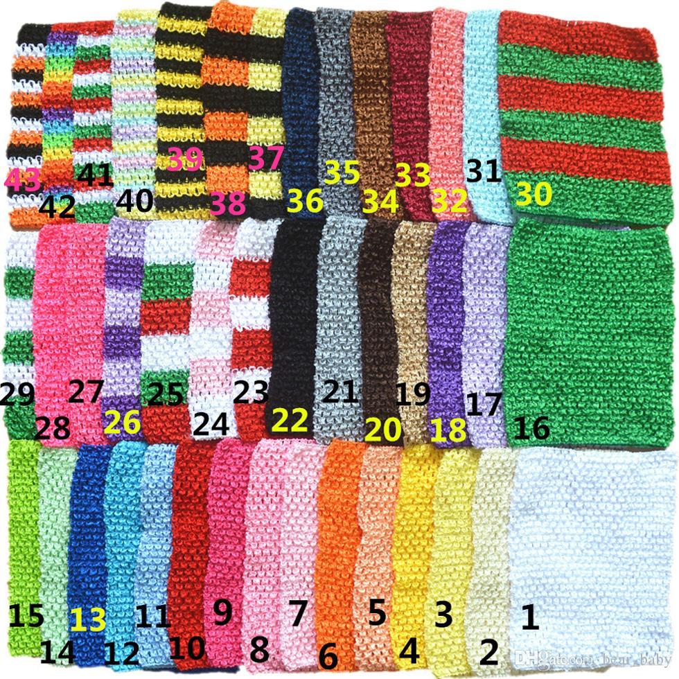 43 colores 9inch la niña del abrigo del pecho elástico infantil ganchillo de la galleta venda del bebé Rayón Tutu Tubo chica remata Hairband 23cm x 20cm