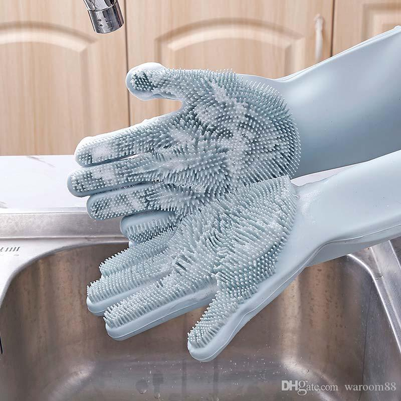 2020 Dishwashing Gloves Magic Silicone Cleaning Gloves With Cleaning Brush  Food Grade Kitchen Wash Housekeeping Scrubbing Gloves Car Brush From  Waroom88, $4.64 | DHgate.Com