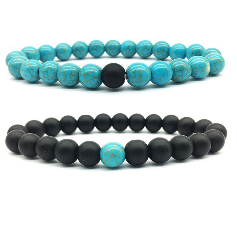 Handmade Dumb Black Frosted Turquoise String Beaded Bracelet Lover Friendship Hand Chain Bracelet Anklet Men Women Jewelry Gifts