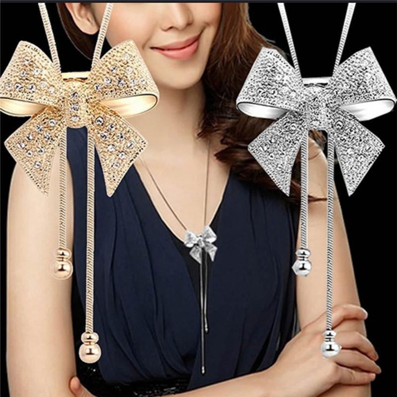 Collar largo collar de la joyería de la nueva vendimia del arco de la manera del estilo para las señoras decoraciones colgantes Gargantilla joyería al por mayor