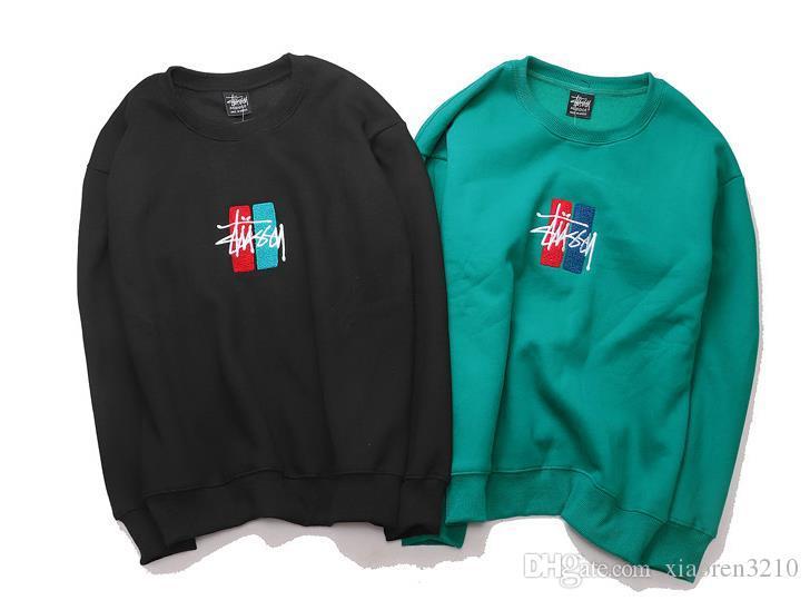 Negro y azul Sweatershirts juvenil popularidad Mens carta mbroidery ocasional del algodón de gran tamaño jersey sudadera con capucha Hip Hop Ocio