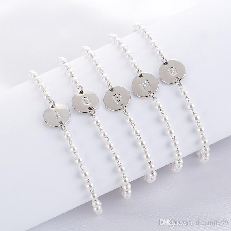 Mode Silber Perlenschmuck Armband Englisch Brief gemischt 26Stile A B C D E F G I J K L M N O P R S T U V W X Y Z Armband