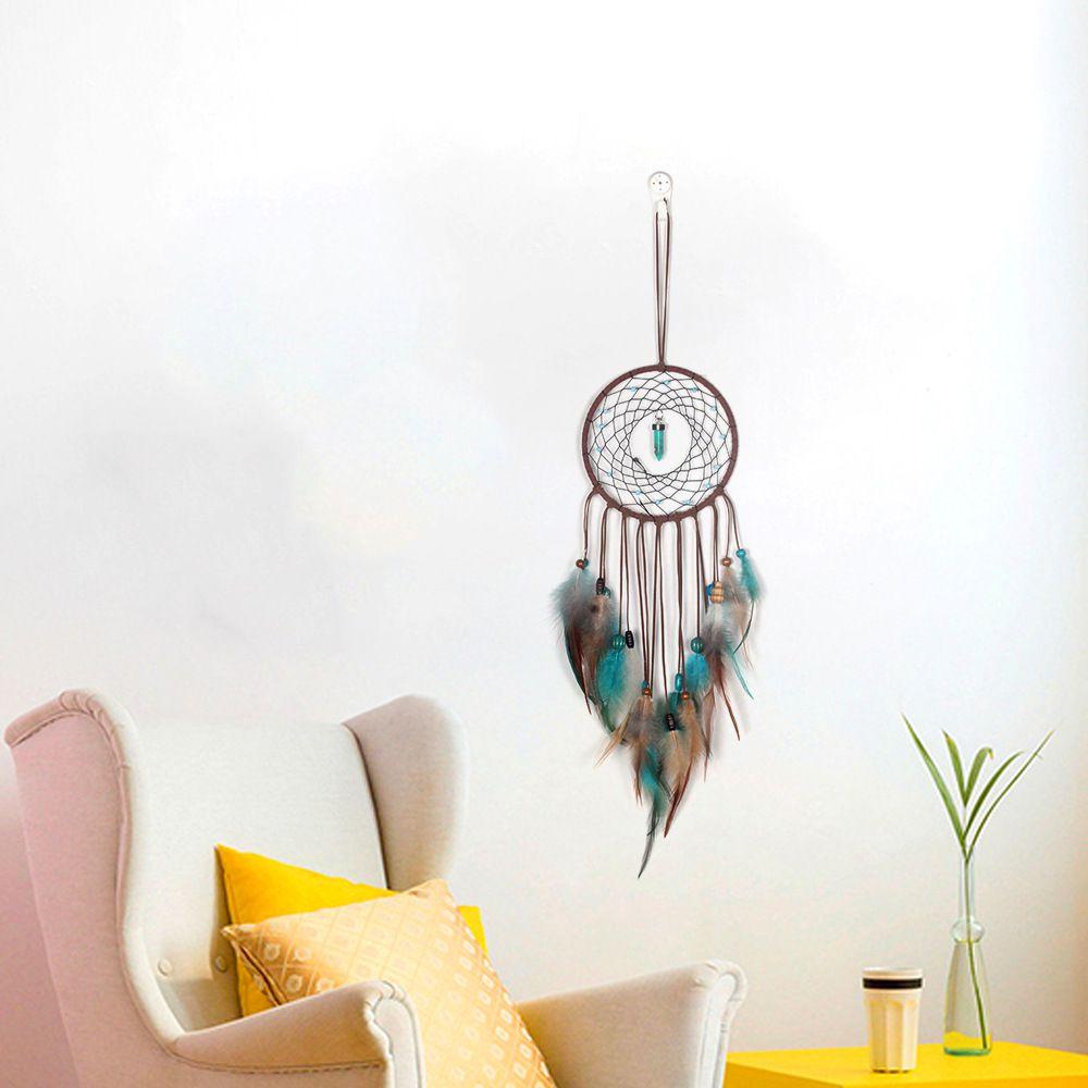 El yapımı LED Işık Dream Catcher Tüyler Ev Duvar Asılı Dekorasyon Süs Hediye Dreamcatcher Rüzgar Chime