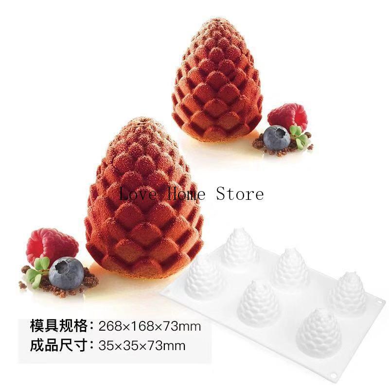 6 in 1 pigne forma vassoio del silicone del pino mela caramella di cioccolato torta stampi vassoio della muffa di Sugarcraft stampo in silicone Marchio Fab decorazioni per torte