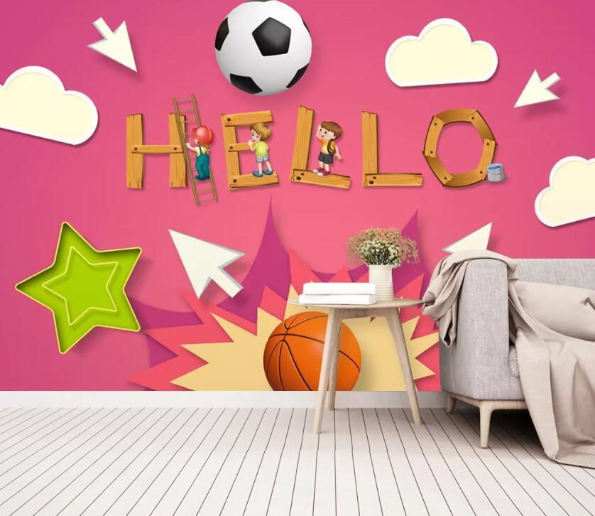 Papel de parede [auto-adesivo] 3D futebol dos desenhos animados Basketball WC1010 mural Impressão da parede do decalque Murais Muzi