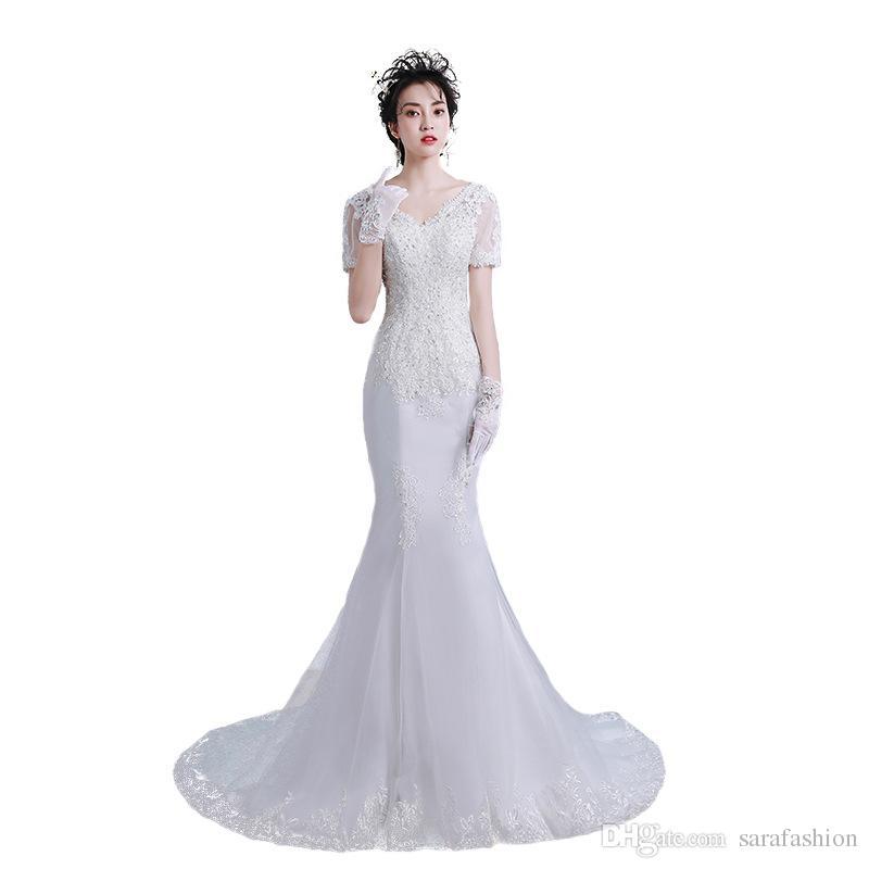 Mermaid con scollo a V in tulle abiti da sposa con applicazioni di pizzo maniche corte abito da sposa sweep treno Nikah Elbisesi