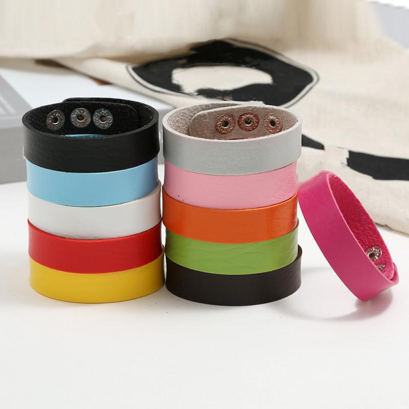 Prezzo di fabbrica 16mm PU Braccialetto in pelle braccialetto da polso braccialetto vari colori lunghezza regolabile donne gioielli uomo di alta qualità