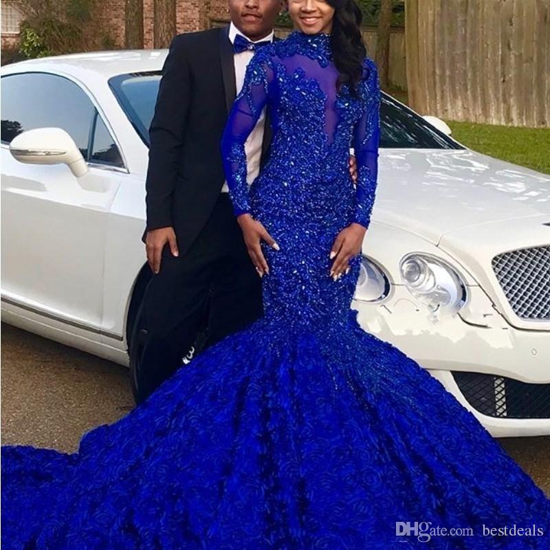 Perles De Luxe Paillettes Robes De Bal Royal Dentelle Bleu Applique Robes De Soirée À Manches Longues Élégant Dubaï Arabie Robes De Soirée Robe De Soirée