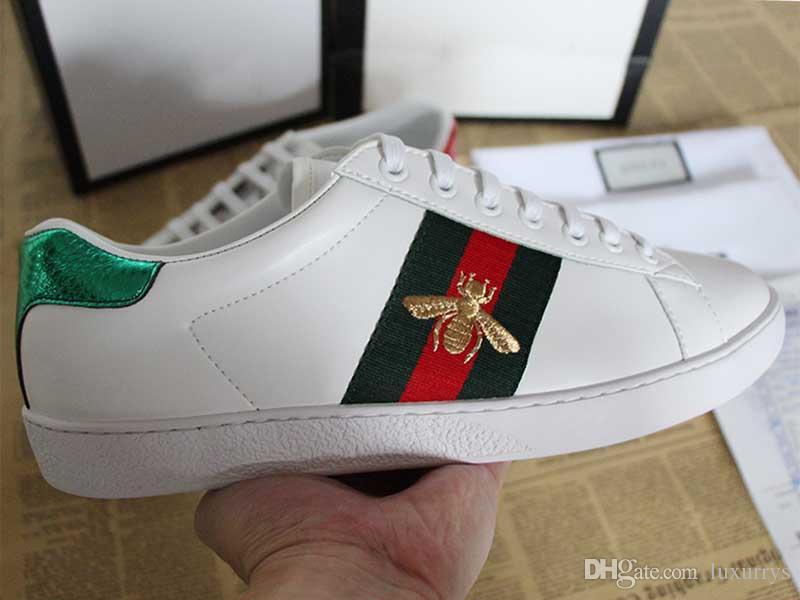 Zapatos de diseñador de abeja de calidad superior nuevo ACE bordado blanco negro París cuero genuino diseñador zapatilla de deporte vestido de los hombres de las mujeres zapatos casuales