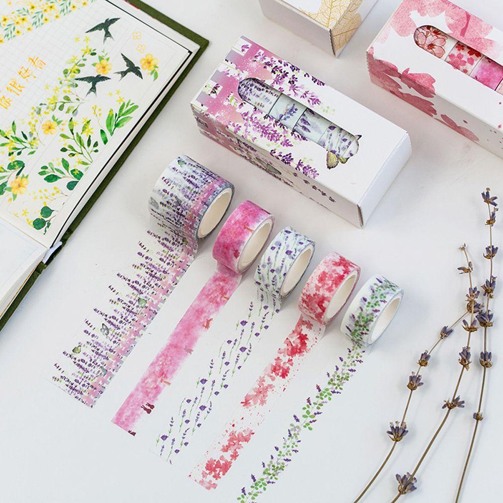 5 adet / lot Moda Çiçek Kağıt Washi Bant Maskeleme Bantları Kawaii Ofisi 2016 DIY Scrapbooking Süt Notebook Sticker Kırtasiye