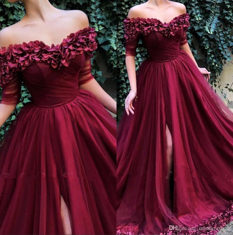Borgogna Off The Shoulder Tulle A Line Abiti da sera lunghi 2019 Maniche corte Increspato Split 3D Floral Formal Party Prom Wear Abiti BC1453
