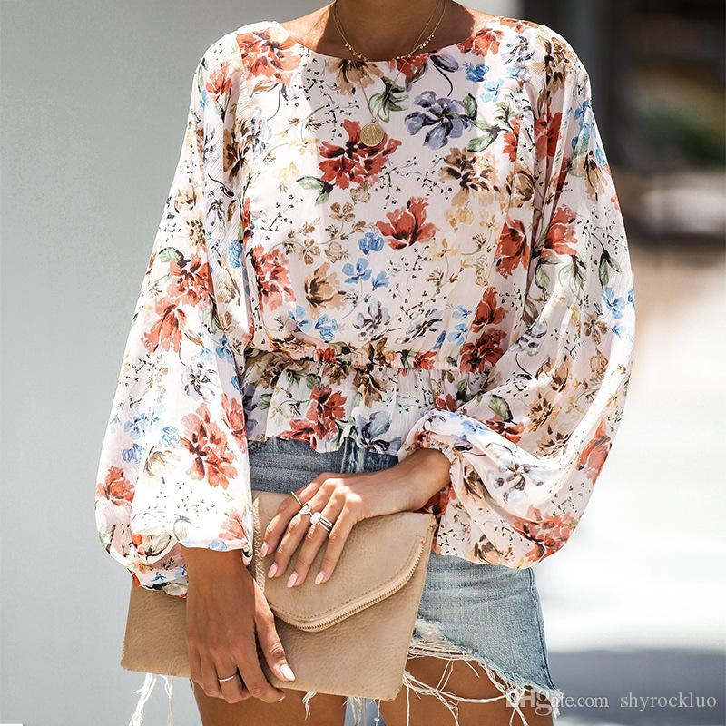 2019 Mode für Frauen Laterne-Hülsen-Blumenstrauß-Waist Herbst Lange Hülsen-beiläufige böhmische Art Hemd Blumendruck Sexy Beach T-Shirt Tops