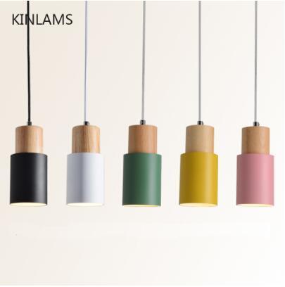 Designer Nordic simples cabo de madeira luminária luzes LED jeito lâmpada colorida de alumínio fixture Kitchen Island Hotel de bar decoração de casa E27