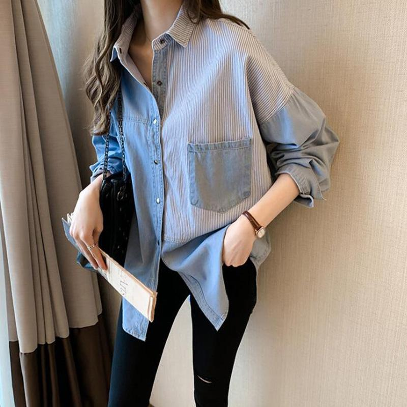 2020 Primavera Mulheres Lady Retro Denim Camisa Vintage Manga Longa Casual Stripe Jean Denim Camisa Patchwork Ladies Tops Blouse