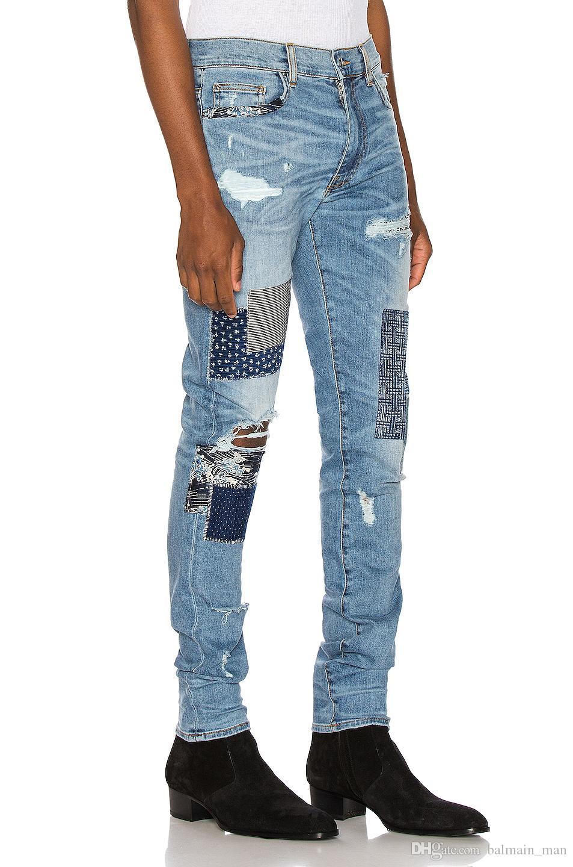 Мужские джинсы дизайнер Классические прямые джинсы Байкер Повседневный Брюки Hole Cowboy известная марка молния Старый патч Горячие продажи США Размер 28-40