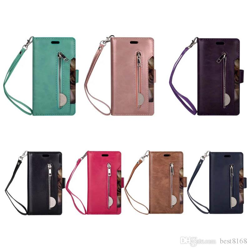 For Iphone 11 Pro XR XS MAX Favour Leather Wallest Case Galaxy S20 A51 A71 Note10 Multifunction Zipper Flip Cover Phot 9 ID Slot Cover Strab