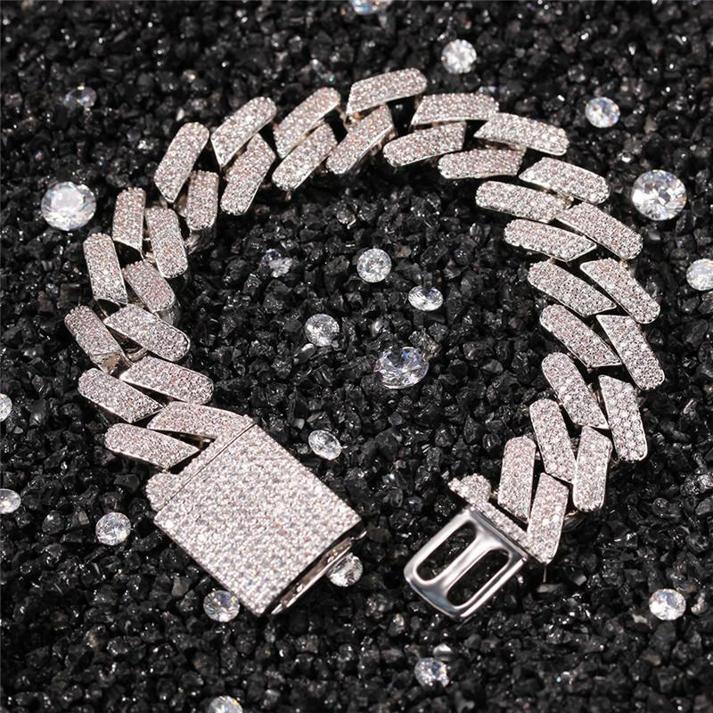 Europa e América Homens Pulseiras banhado a ouro completa 3A Cubic Zircon 13 milímetros 7/8 polegadas cubana Pulseira Chain Link masculino do punk jóias