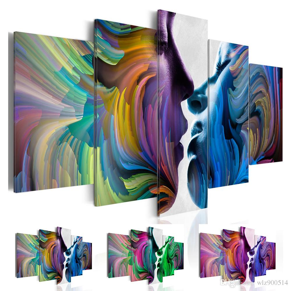 5 Pcs/set Canvas Print (no Frame) Abstract Colorful Lover Kissing Canvas Art Wall Decoration Canvas Painting Living Room Decoration Gifts fo