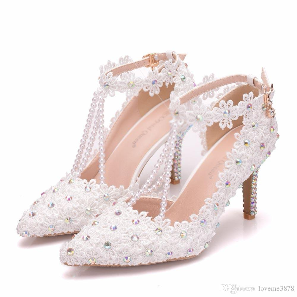 Wedding Shoes Female Clear Crystal Tassel Pearls Luxury Lace Embroidery White AB Pointed Bride Shoes Girls