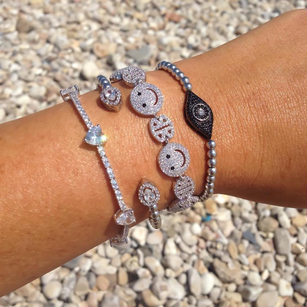Hot Brand Woman new Sparking micro pave clear zirconia Happy face happy link chain unique stylish bracelet