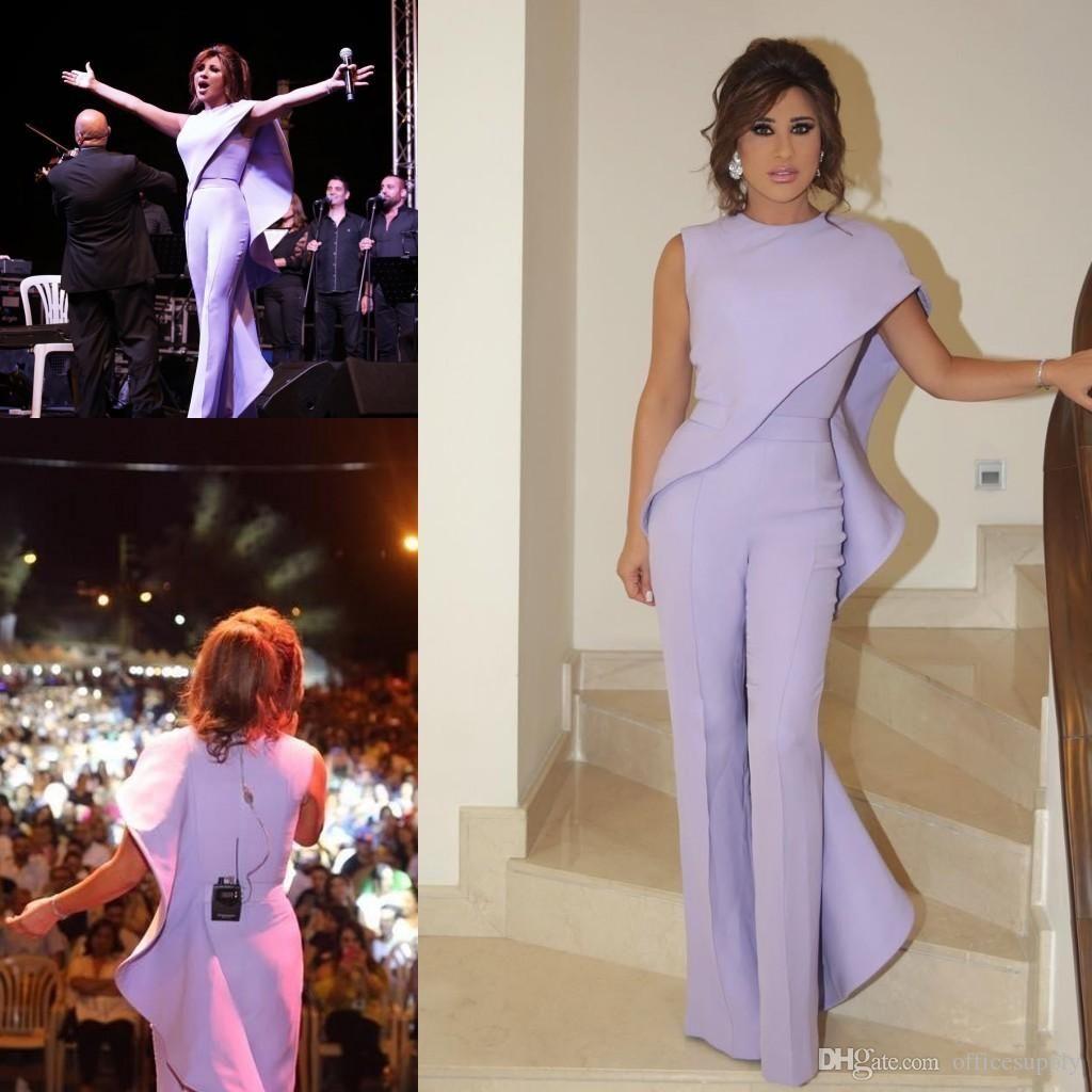 Lavender Jumpsuit Women Arabic Prom Evening Dresses 2019 Jewel Neck Plus Size Formal Party Wear Cheap Sheath Ruffled Celebrity Gowns