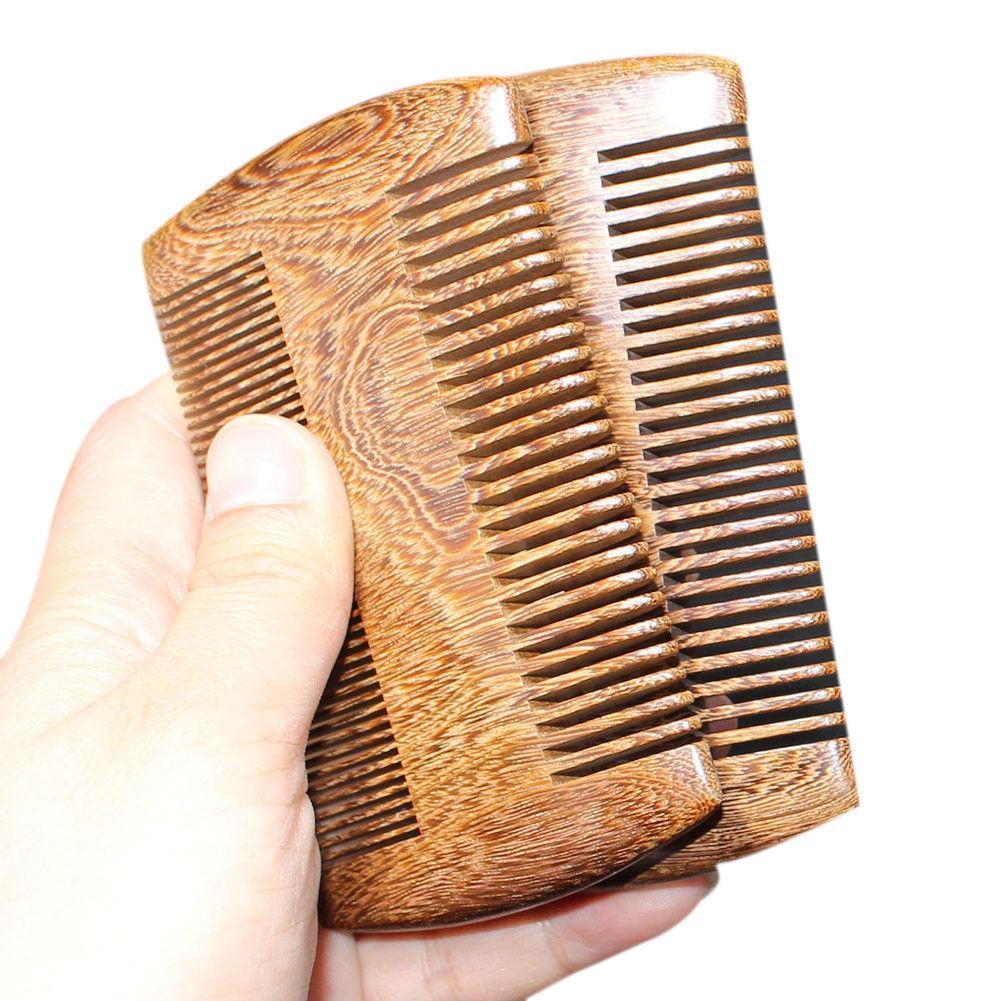 Barba de bolso de sândalo pente de cabelo 2 tamanhos pente de madeira natural artesanal
