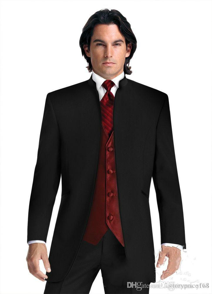 Mandarin Yaka smokin damat düğün erkekler suit erkek düğün takım elbise smokin kostümleri de sigara hommes erkekler dökün (Ceket + Pantolon + Kravat + Yelek) 031