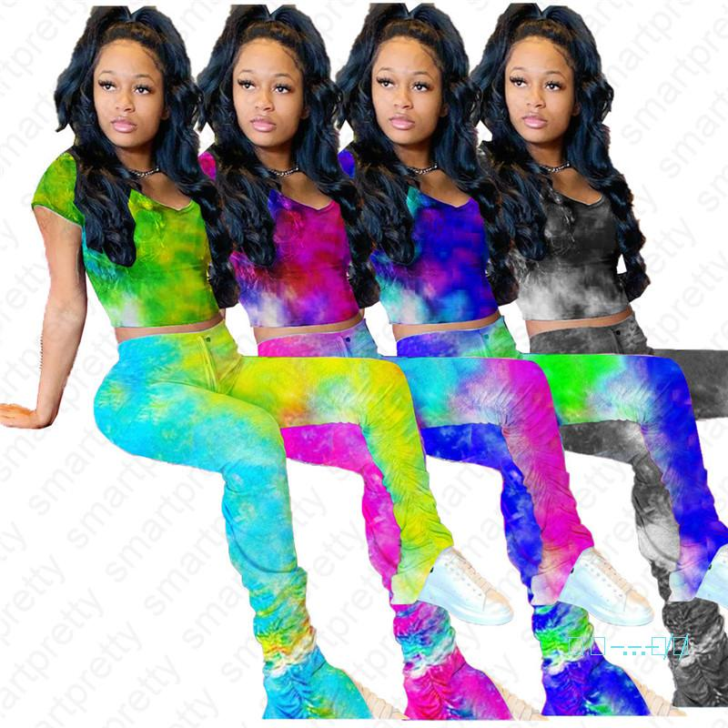 Women Pants Tracksuit Color Tie Dye Fashion Leggings and Short Sleeve T shirt Crop Tee Tops Two Piece Outfit Clubwear Sportswear D42108
