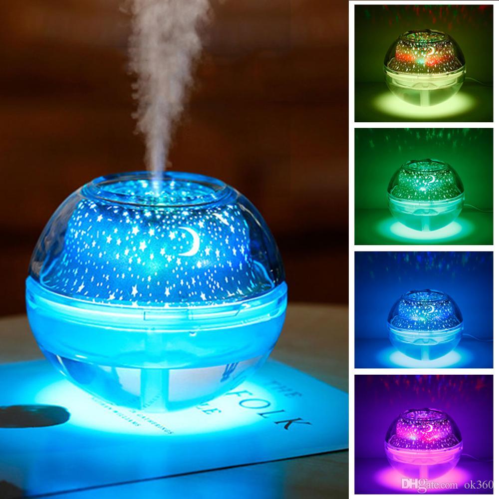 USB lâmpada de cristal noite lâmpada do projetor de LED 500ml umidificador de ar desktop Aroma difusor névoa ultra-sônica fabricante de luz LED noite para casa