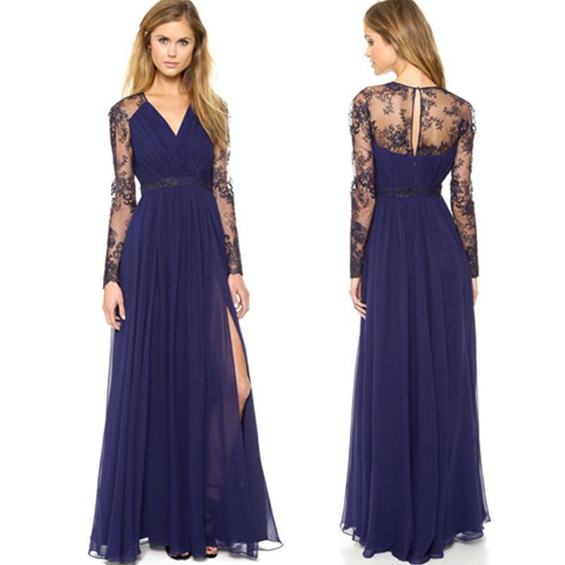 Vestido de la manera de vestir de manga larga de encaje bordado del resorte de las nuevas mujeres