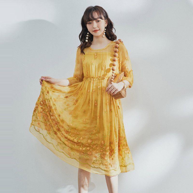 Crossmio французский фея цветок платье 2020 новый раунд качества шеи стиль sennv жареное шелковое платье
