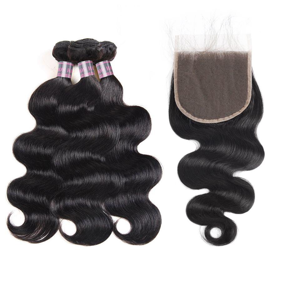 Indische menschliche Haare Bündel mit Verschluss 5x5 Spitzeschluss Brasilianische Körperwelle Jungfrau Haarverlängerungen Großhandel gerade Peruanische FEFTS