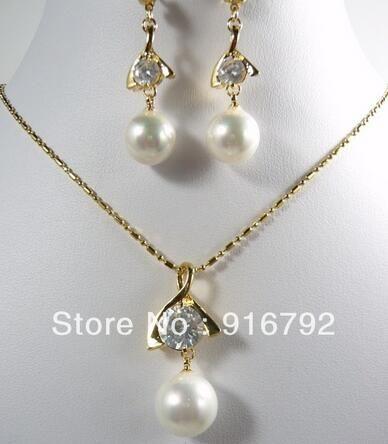Damen Hochzeit New -18GP natürliche weiße Muschel Perle Anhänger Ohrringe Ohrringe-Silber-Schmuck-Silber-Schmuck