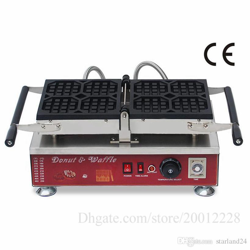 Elektrikli Liege Waffle Makinesi 4 Kalıp Katlama İşlem Yapışmaz Pişirme Yüzey 1500 W Gıda Sokak Mutfak Cihazı