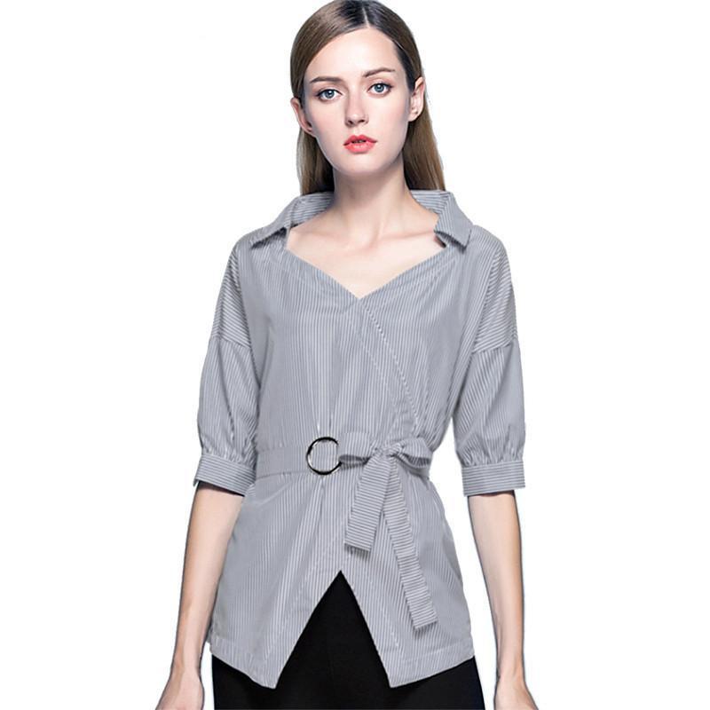 Camicia a maniche corte da donna camicetta da ufficio donna patchwork a grembiulino slim